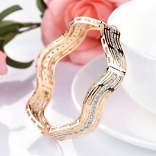 Stunning 18K Gold Filled Polygon Cuff Bling White Topaz Crystal Buckle Bangle