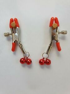 Non Pierced Nipple Jewellery clip on adjustable tension screws Red   Uk seller