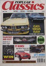 Popular Classics magazine 05/1990 featuring BMW, Ford Capri, Jaguar, Lancia