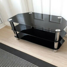 Black Glass TV Stand Cantilever With Wall Bracket