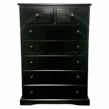 HAND MADE BALTIC 2+5 DRAWER CHEST SOLID PINE BLACK(ASSEMBLED)