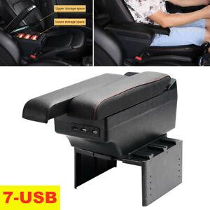 PU Leather Universal Car Panel Dual Layer Armrest Storage Box 7 USB Charge Ports