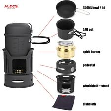 ALOCS Outdoor Camping Cooking Set Portable Stove Cookware Pots Bowl Stove