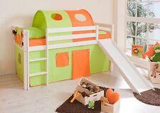 Lit mezzanine avec toboggan MANUEL pin teinté blanc tissus Vert-Orange