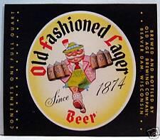 Old Fashioned Lager Beer Bottle Label Beaver Dam Wis