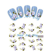 Tattoo adesivi per unghie-BUY 3 GET 1 IN FREE-20 Stickers-decals Fiori Viola !!!