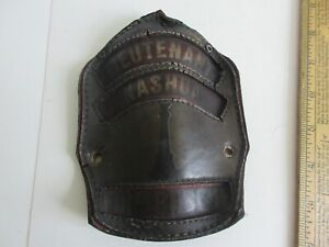 Vintage Leather Lieutenant Fire Rescue Helmet Badge Nashua
