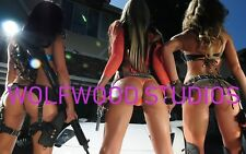 THREE GORGEOUS BRUNETTES IN SEXY THONGS WITH GUNS SUPER HOT PUBLICITY PHOTO