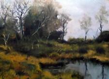 La Tranquilla Piscina : Impressionista Pittura A Olio Alan Dickson 21cm X 30cm
