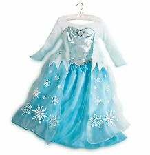 NEW! PRINCESS ELSA Girls FANCY DRESS M 7/8 Disney Store HALLOWEEN Frozen Costume