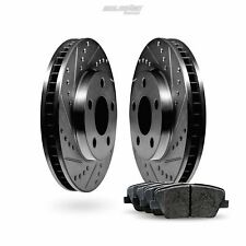 Fit 2014-2015 Lexus IS250 Front Black Drill Slot Brake Rotors+Ceramic Brake Pads