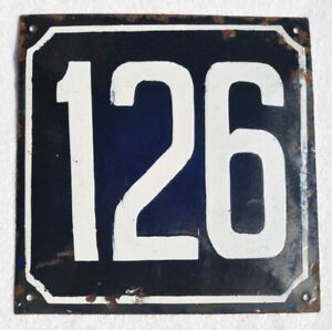1900s Imperial Russia Russian House Wall Hot Enamel Number Sign #126