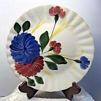 Vintage Blue Ridge Southern  Potteries Dinner Plate Red and Blue Floral USA