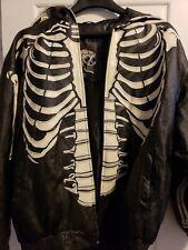 Bones Skeleton Leather Motorcycle Riding Jacket 2XL Hooded