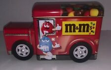 Collectible M&M's Red Truck Van Panel Truck Tin  with  turning wheels