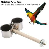 Stainless Steel Pet Parrot Feeder Food Water Bowl Bird Cage Stand Cup Feeding