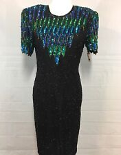 Stenay Sequins Beaded Dress Size 4 Silk Black Blue Green Cocktail Tags Formal