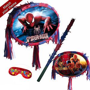 Spider Pinata set Kids Smash Party Fun Stick Red Blue Man The Amazing Spiderman
