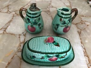 Vintage Hand Painted Ceramic Oil & Vinegar Cruets & Covered Butter Dish by L&M