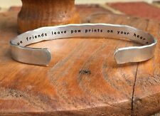 True friends leave paw prints on your heart - Inside Secret Message Hand Stamped