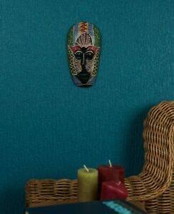 Mask Tribal Wooden Spirit Wood Ethnic Hand painted head masks on the Wall Art