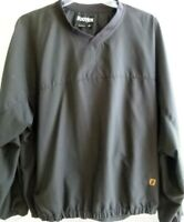 Footjoy Golf-Mens Pullover Windbreaker Jacket, Extra Large-XL, V-Neck, Black