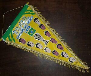 FIFA WORLD CUP MEXICO 1970 vintage PENNANT rare BRAZIL CHAMPION - Pelé Tostao