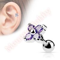 316L Surgical Steel CZ Flower Tragus Cartilage Piercing Stud Bar Ear Ring