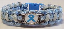 Prostate Cancer Awareness Light Blue Ribbon with Gray & Blue Paracord Bracelet