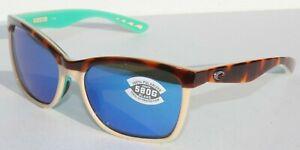 COSTA DEL MAR Anaa POLARIZED Sunglasses Tortoise/Cream Mint/Blue Mirror 580G NEW