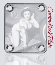 CHROME Car Pinup Engraved Guitar Neck Plate fits Fender pbass, Telecaster, Strat