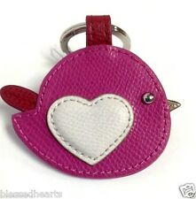 Coach Leather Key Ring Love Bird  Heart FOB Accessory Pink 63286 NWT