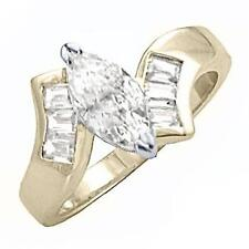 14K GOLD EP 2.26CT DIAMOND SIMULATED MARQUISE RING 6 M