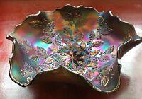 "Antique Fenton Art Glass HOLLY Blue Carnival Glass 9"" Ruffled Bowl ca. 1911"