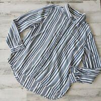BEACH LUNCH LOUNGE Size Medium WOMEN'S Blue White Button Down Blouse Shirt