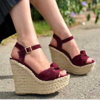 Ladies Open Toe Wedge High Heels Women Ankle Strap Platform Summer Sandal Shoes