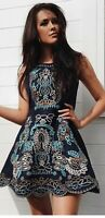 BNWT Comino Couture Navy Blue Floral Embroidered Skater Dress Uk10.ASOS Rrp £195