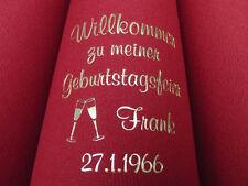 ♥25 bedruckte DUNILIN-Premium-Servietten mit Name/Datum/Motiv: Dinner/GEBURTSTAG