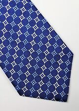 TURNBULL & ASSER TIE WOVEN SILK ABSTRACT NAVY BLUE SILVER GREY DESIGNER MEN