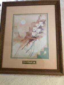 Rare Gloria Vanderbilt Collection Wood Frame Print Southwest Pastels