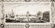 c1830 Cherbourg Basse-Normandie France Kleine Kupferstich mit reicher Bordüre