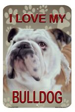 """Bulldog Metal Sign Wall Plaque Dogs Outdoor 8"""" x 12"""""""