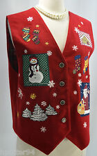 Karen Scott NEW Red button Vest  Ugly Christmas PatrioticTop plaid lined SIZE M