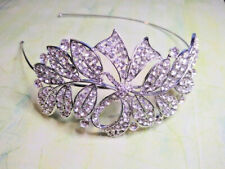 New Clear Crystal Leaf Extravagance Hairband Side Tiara Fascinator Prom Wedding