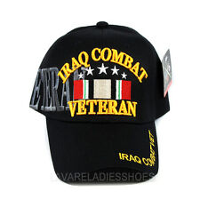 IRAQ COMBAT VETERAN Hat US VET Military Adjustable Baseball Cap New - Black