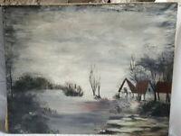 tableau peinture huile signé CHRISTY 92×73cm sombre artiste art déco HST