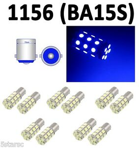 10pcs Blue BA15S 1156 27-SMD 5050 LED RV Backup Brake Turn Signal Light Bulb