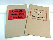 Rumford Baking Powder Booklets - Home Management & Common Sense Cookbook Vintage