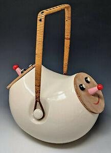 Vtg. c1958 LaGardo Tackett Double Header Ceramic Cookie Jar w/ Smiling Face Lids
