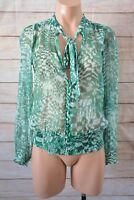 Sunny Girl Top Size 8 Small Green White Shimmer Blouse